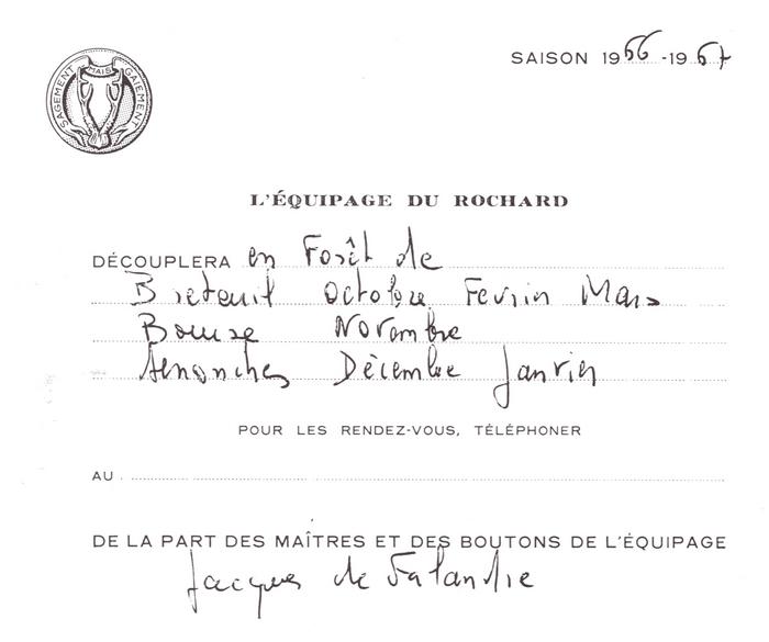 Equipage du Rochard - Tiré de l'ouvrage Deux Siècles de Vènerie à travers la France - H. Tremblot de la Croix et B. Tollu (1988)