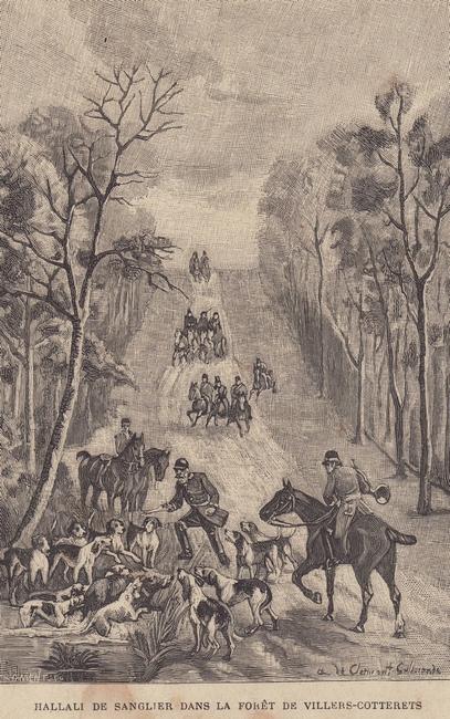 Hallali de sanglier dans la forêt de Villers-Cotterêts - Collection privée - Don à la Société de Vènerie