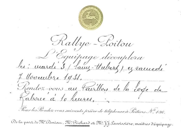 Carton d'invitation - Equipage de La Planche - Equipage Deniau-Richard - Rallye Poitou