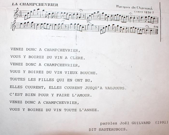Paroles de La Champchevrier (1991)