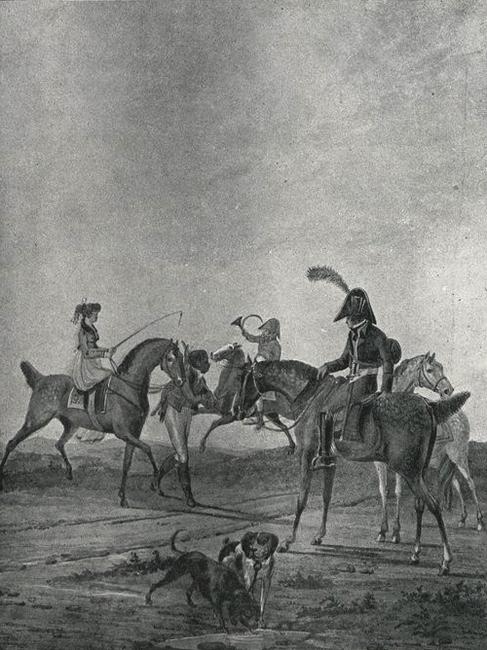 Chasse de l'Équipage de Barras - Illustration tirée de l'ouvrage La Chasse à travers les Âges - Comte de Chabot (1898) - A. Savaète (Paris) - BnF (Gal