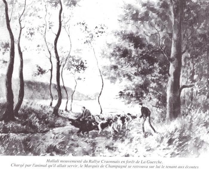 Vautrait du Craonnais - Tiré de l'ouvrage Deux Siècles de Vènerie à travers la France - H. Tremblot de la Croix et B. Tollu (1988)
