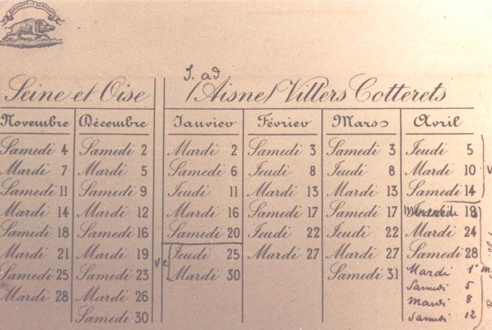 Calendrier des chasses - Collection A.-P. Baudesson - Don à la Société de Vènerie