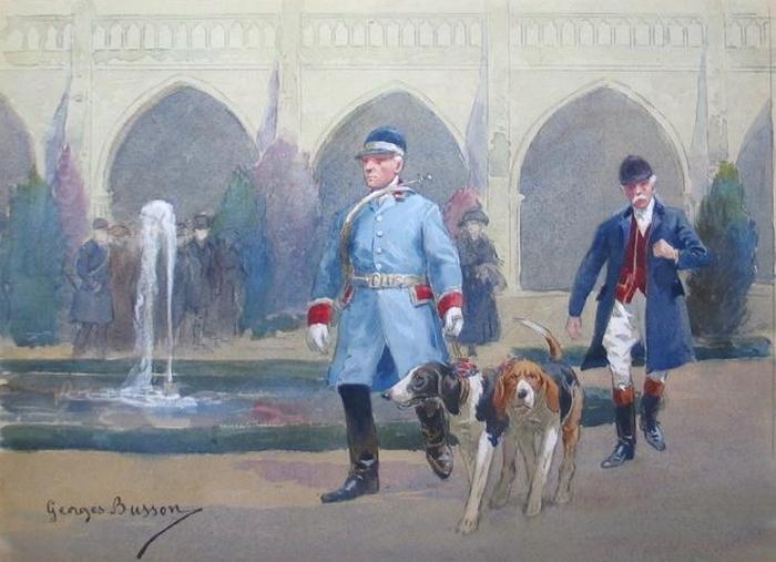 Le Comte de Valon et valet de limier G. Buisson Senlis