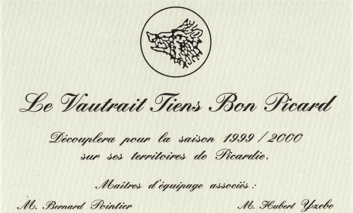 Vautrait Tiens Bon Picard - Don de M. A.-P. Baudesson à la Société de Vènerie
