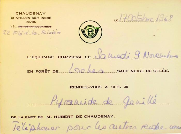 Archives Montpoupon - Equipage Vénerie du Berry - Equipage de Chaudenay