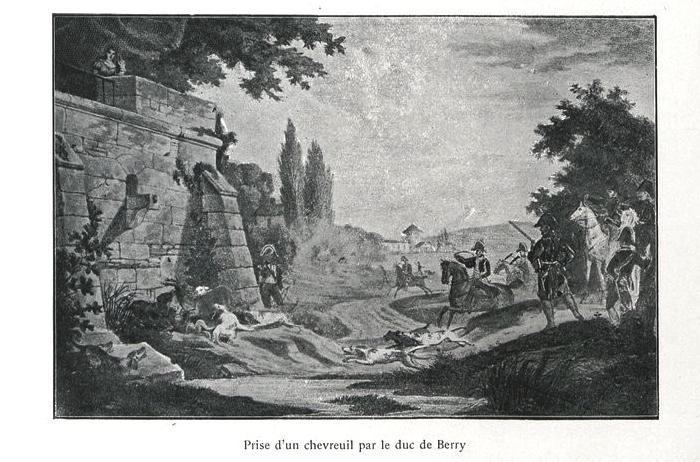 Chasse au chevreuil du Duc de Berry - Illustration tirée de l'ouvrage La Chasse à travers les Âges - Comte de Chabot (1898) - A. Savaète (Paris) - BnF