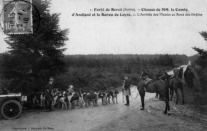 Trois équipages (Champchevrier, Rallyes Bercé et Sapinette) en forêt de Bercé - Don de M. P. Mauranges à la Société de Vènerie