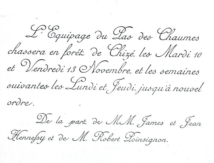 Carton d'invitation - Tiré de l'ouvrage Deux Siècles de Vènerie à travers la France - H. Tremblot de la Croix et B. Tollu (1988) - 2