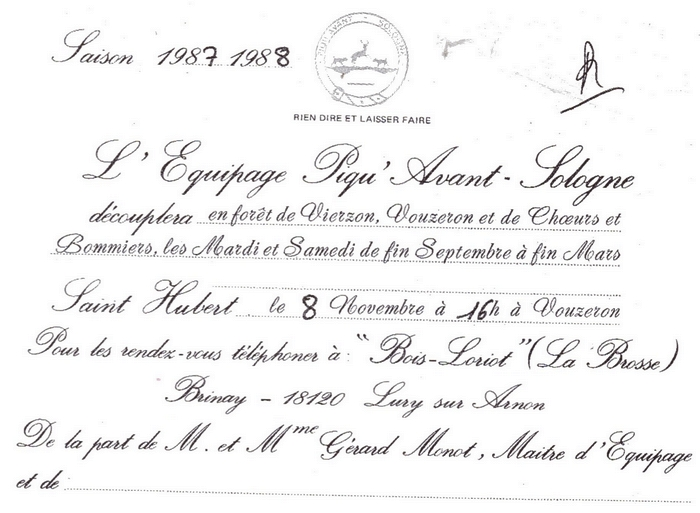 Equipage Piqu'Avant Sologne - Tiré de l'ouvrage Deux Siècles de Vènerie à travers la France - H. Tremblot de la Croix et B. Tollu (1988)