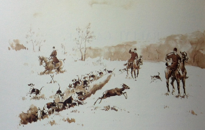 L'Equipage de Goudemail - Illustration tirée de l'ouvrage La Vénerie française contemporaine (1914) - Le Goupy (Paris)