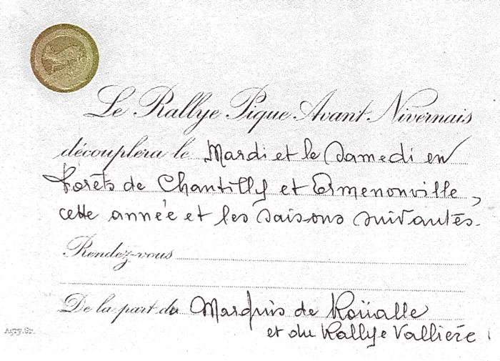 Rallye Pique Avant Nivernais - Tiré de l'ouvrage Deux Siècles de Vènerie à travers la France - H. Tremblot de la Croix et B. Tollu (1988)