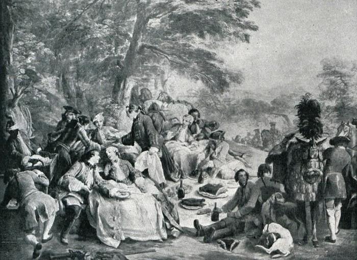 Une halte de chasse (XVIIIe siècle) - Illustration tirée de l'ouvrage La Chasse à travers les Âges - Comte de Chabot (1898) - A. Savaète (Paris) - BnF