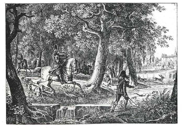 Chasse du duc de Berry - Illustration tirée de l'ouvrage La Chasse à travers les Âges - Comte de Chabot (1898) - A. Savaète (Paris) - BnF (Gallica)