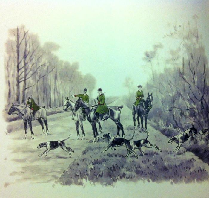 Le Rallye Bas Maine - Illustration tirée de l'ouvrage La Vénerie française contemporaine (1914) - Le Goupy (Paris)