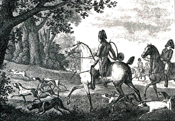 Un rapprocher - Illustration tirée de l'ouvrage La Chasse à travers les Âges - Comte de Chabot (1898) - A. Savaète (Paris) - BnF (Gallica)