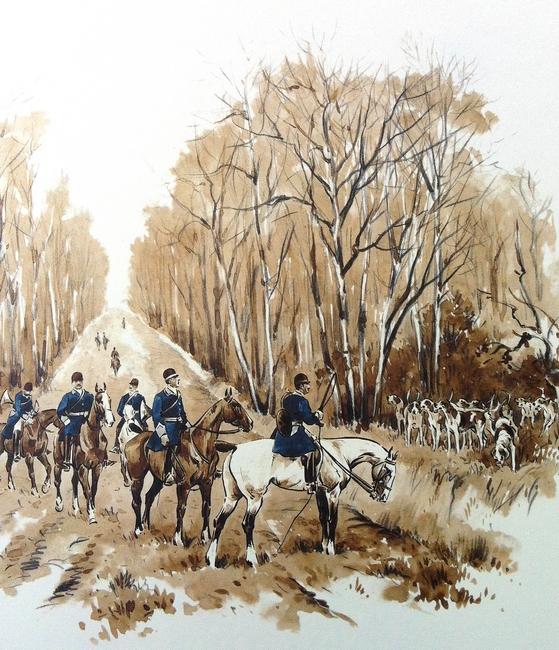 L'Equipage Beaujeu-Beaumont - Illustration tirée de l'ouvrage La Vénerie française contemporaine (1914) - Le Goupy (Paris)