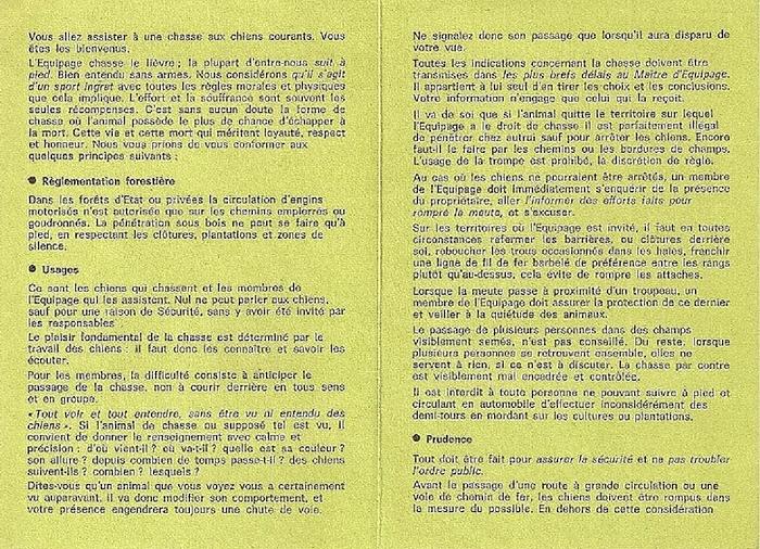 Code de bonne conduite 1/2 - Don de M. P. Verro à la Société de Vènerie