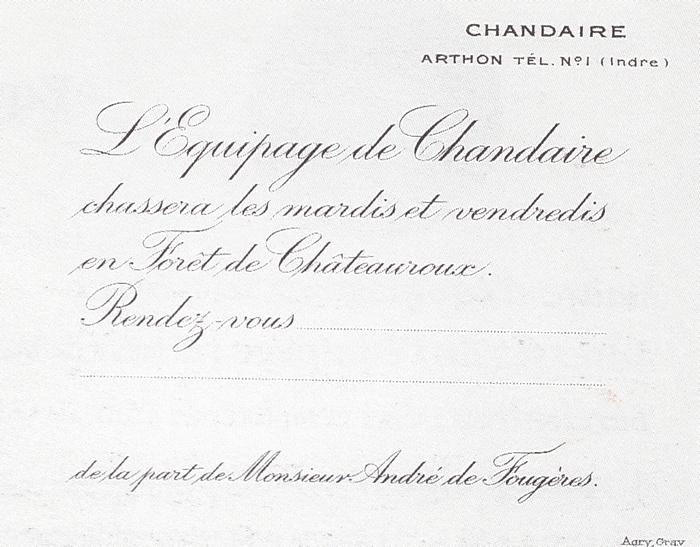 Equipage de Chandaire - Tiré de l'ouvrage Deux Siècles de Vènerie à travers la France - H. Tremblot de la Croix et B. Tollu (1988) - 2