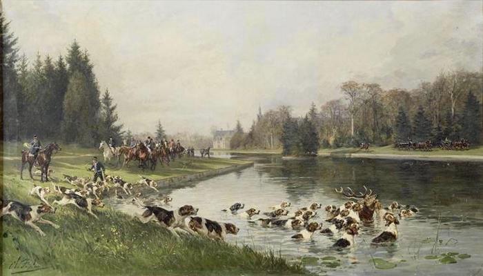 Hallali du cerf dans l'étang de Sylvie (Chasse du duc d'Aumale en 1880)
