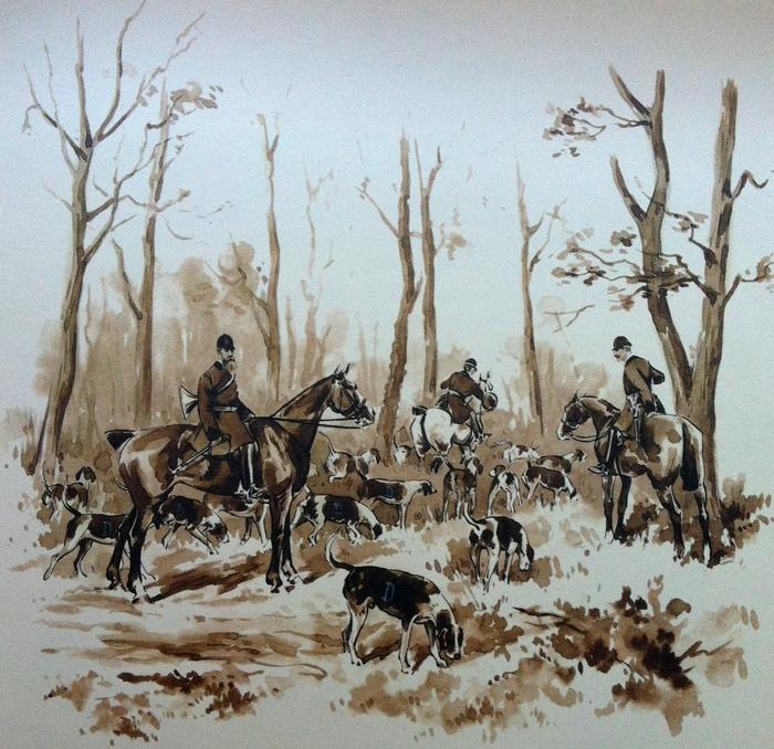 L'Equipage Dorlodot - Illustration tirée de l'ouvrage La Vénerie française contemporaine (1914) - Le Goupy (Paris)