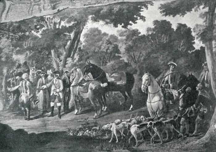 Le duc de Choiseul en forêt d'Amboise (XVIIIe s.) - Illustration tirée de l'ouvrage La Chasse à travers les Âges - Comte de Chabot (1898) - A. Savaète