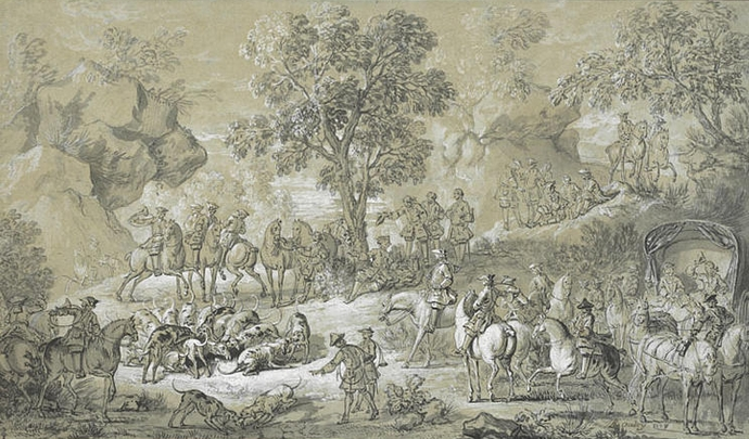Hallali du cerf - 1728 - © Joconde - RMN - R.G. Ojeda - Chantilly - Musée Condé