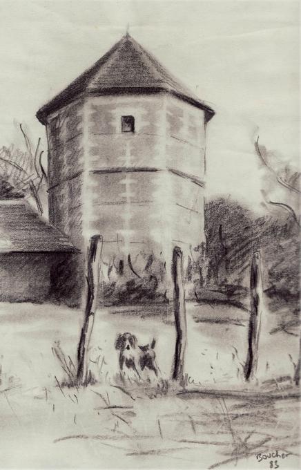 Le colombier dans le chenil, signé Boucher - Don de A.-P. Baudesson