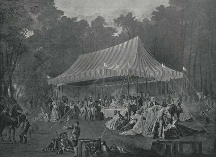 Banquet offert au prince de Brunswick dans le bois de Cassan - Commandé par le prince de Conti pour le salon du château de l'Isle-Adam - 1766 - La Cha