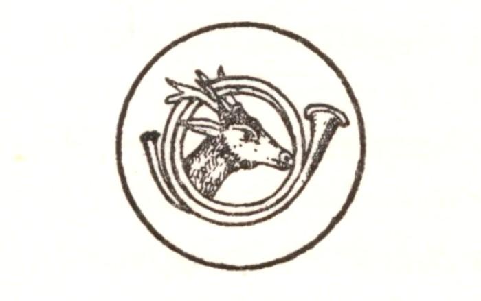 Bouton graphique de l'Equipage Salverte - Illustration tirée de l'ouvrage Essai sur la chasse du daim - Charles de Salverte (1906) - Decelle (Compiègn