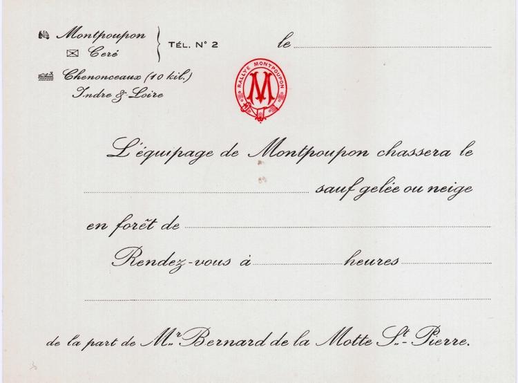 Carton d'invitation de l'Equipage de Montpoupon
