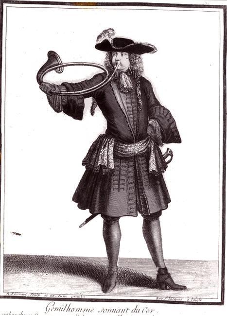 Gentilhomme sonnant du cor - Louis XIV - Collection de M. Joël Bouëssée - Don à la Société de Vènerie