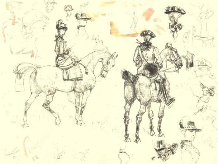 René Princeteau - Etude de cavaliers en tenue Louis XV - Société de Vènerie