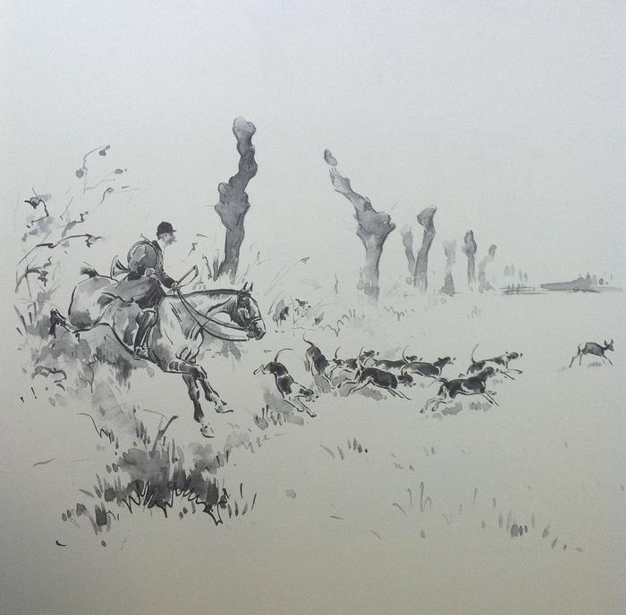 L'Equipage Boischaut Crie Haut - Illustration tirée de l'ouvrage La Vénerie française contemporaine (1914) - Le Goupy (Paris)