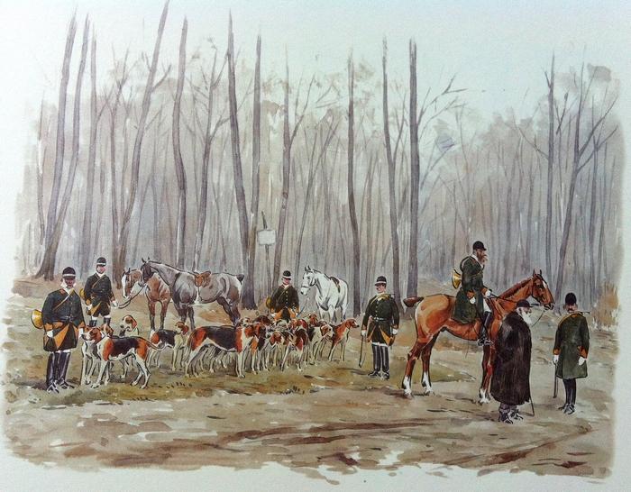 Le Rallye Saint-Hilaire - Illustration tirée de l'ouvrage La Vénerie française contemporaine (1914) - Le Goupy (Paris)