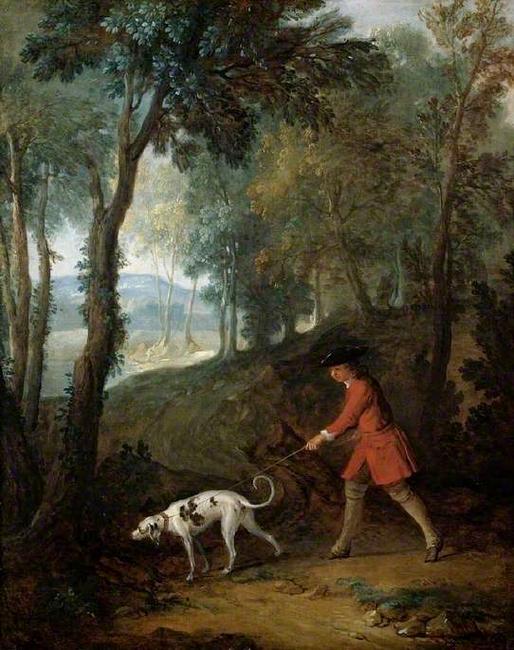 Le valet de limier par Jean-Baptiste Oudry (XVIIIe siècle) - Reproduction - Don à la Société de Vènerie