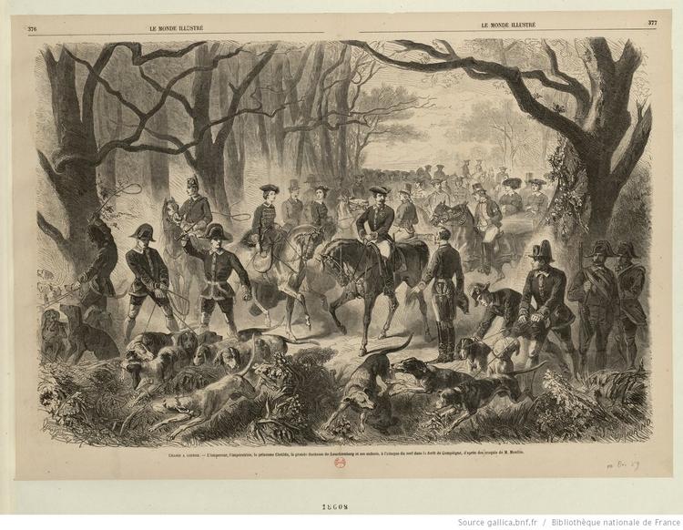 L'Empereur en forêt de Compiègne par Gustavec Janet - 1859 - Estampe - © BNF