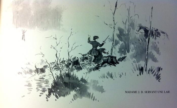 Madame Delapalme servant une laie - Illustration tirée de l'ouvrage La Vénerie française contemporaine (1914) - Le Goupy (Paris)