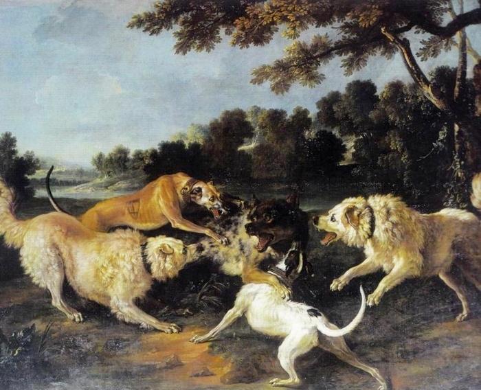 La chasse du grand loup de Versailles par le porte-arquebuse François Antoine en 1746 par J.-B. Oudry - Musée de la Chasse de Gien
