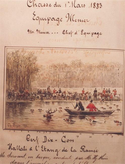 Extrait d'un compte-rendu de l'Equipage Menier - Laisser-courre en présence de M. Servant - Don de M. A.-P. Baudesson à la Société de Vènerie