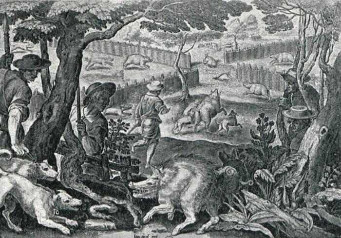 XVIIe siècle - Illustration tirée de l'ouvrage La Chasse à travers les Âges - Comte de Chabot (1898) - A. Savaète (Paris) - BnF (Gallica)