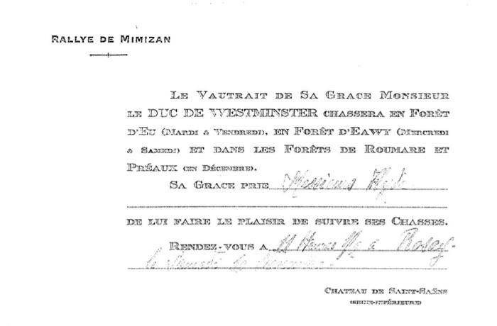 Collection particulière - Don à la Société de Vènerie - M. M. Berge