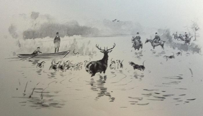 Hallali - Equipage Pully - Illustration tirée de l'ouvrage La Vénerie française contemporaine (1914) - Le Goupy (Paris)