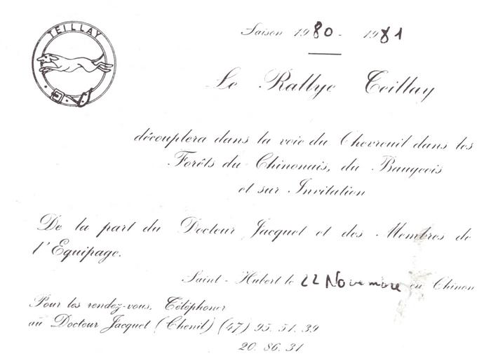 Rallye Teillay - Tiré de l'ouvrage Deux Siècles de Vènerie à travers la France - H. Tremblot de la Croix et B. Tollu (1988)