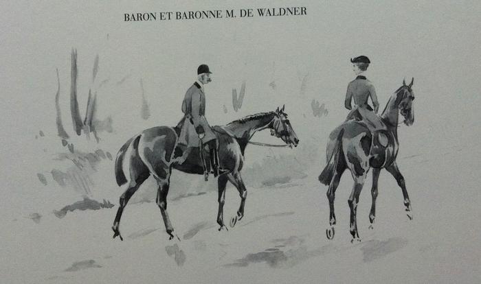 Le baron et la baronne M. de Waldner - Illustration tirée de l'ouvrage La Vénerie française contemporaine (1914) - Le Goupy (Paris)