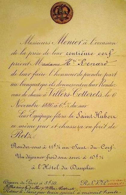 Faire-part - Don de M. A.-P. Baudesson à la Société de Vènerie