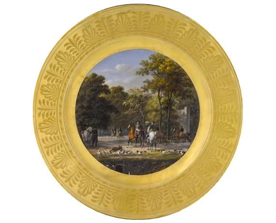 Assiette - Chasse au daim dans le bois du Butard - 1808 - © RMN-Grand Palais - Musée des châteaux de Malmaison et de Bois-Préau - Franck Raux