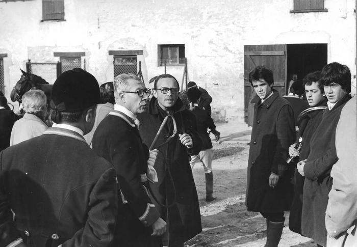 11 mars 1973 - MM. Lachaze, Hallo, Tétard et de Bordas - Photo de Georges Hallo - Don de M. J.-G. Hallo à la Société de Vènerie