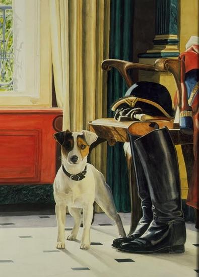 Portrait du Jack Russell terrier d'un bouton de l'Equipage de Bonnelles - Don de M. Cyrille Jubert à la Société de Vènerie