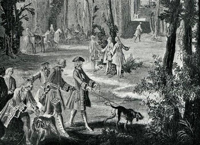 Tapisserie des Gobelins, d'après Oudry - Illustration tirée de l'ouvrage La Chasse à travers les Âges - Comte de Chabot (1898) - A. Savaète - (Gallica